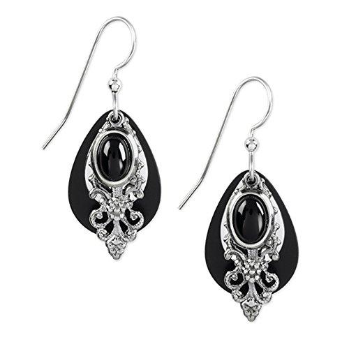 Silver Forest Earrings - black filigree ()