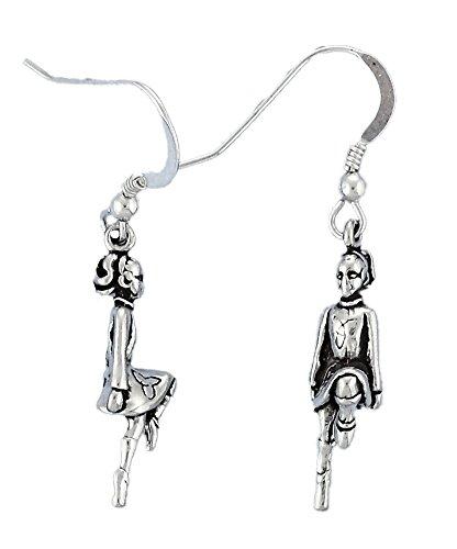 Corinna-Maria 925 Sterling Silver Celtic Irish Step Dancer Earrings Irish Step Dancer Charm