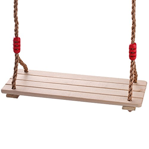 HappyPie Children Pine Wood Hanging Swings Seat with 2 Meter of Rope Per Side (4pc hardwood) (Pine Swing Sets)