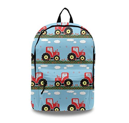 Durable College High School Book Bag, Travel Backpack Laptop & Notebook Unisex, Waterproof, Lightweight (Toy Tractor Pattern)