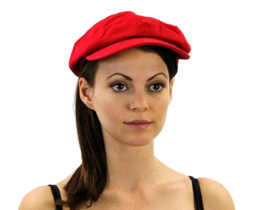 Washed Newsboy Cap For Men or Women Hat Colors: Red