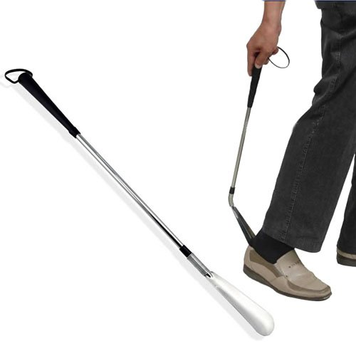 Flexible Long Handle Spring shoe pull Shoehorn Shoe Horn AID Stick Silver Stainless Steel Flex Spring 58CM 23inch by Btkuon