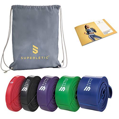 Superletic Powerbands, weerstands-fitnessbanden, pullup en weerstandstraining, 5 sterktes, rood, zwart, paars, groen en…