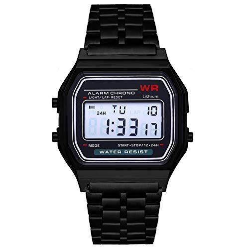 Moda Vintage LED Reloj Digital Correa de Acero Inoxidable Alarma Reloj de Pulsera Vestido Business Reloj de Pulsera para Hombres, Mujeres - Negro