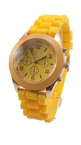 Unisex Opulence Silicone Jelly Gel Quartz Analog Sports Wrist Watch, Yellow
