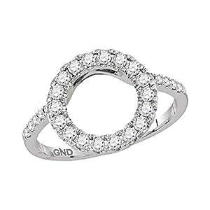 Amazon.com: 14kt White Gold Womens Round Diamond Circle