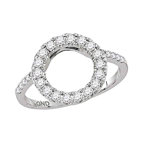 Sonia Jewels Size 7-14k White Gold Round Diamond Circle Halo Wrap Ring Guard Enhancer (1/2 Cttw)