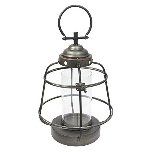 Stonebriar Industrial Worn Black Metal and Glass Cylinder Hurricane Candle Lantern, Industrial and Farmhouse Decor Accessories for Centerpiece, Mantel Decoration, or Patio Decor, Small