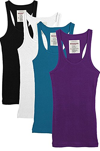 Trendyfriday 4 Pack or 2 Pack Women's Basic Ribbed Racerback Tank Top (Large, 4 Pack: Black, White, S.Teal, Purple)
