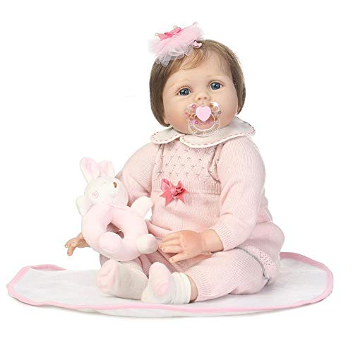 (Birdfly Type:9172 Reborn Toddler Smile Baby Doll Jumpsuit Girl with Lovely Rabbit Silicone Lifelike Toy)