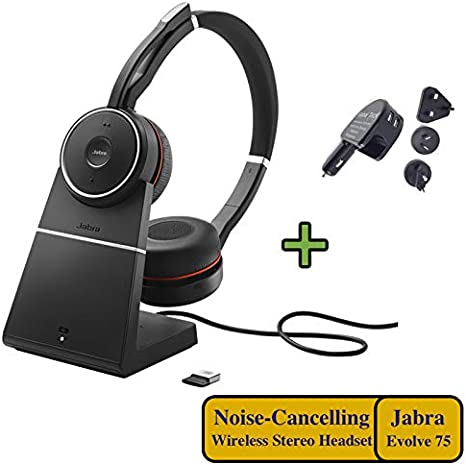Amazon Com Jabra Evolve 75 Bluetooth Headset Bundle Active Environmental Canceling Usb Dongle Charging Stand Bonus Ac Adapter Ms Skype Lync Certified Softphones Smartphones Pc Mac 7599 832 199 B Computers Accessories