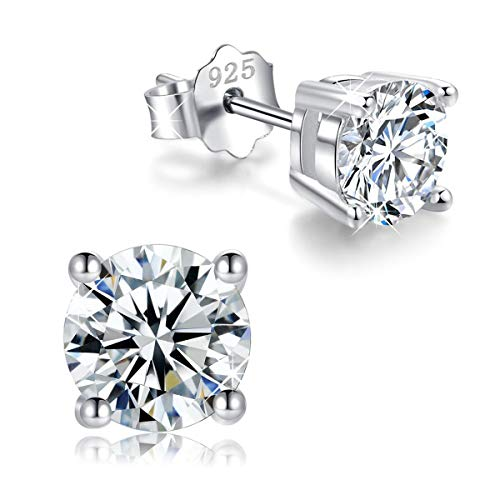 White Gold Plated Sterling Silver Cubic Zirconia Stud Earrings 3mm-8mm Options, Simulated Diamond CZ Studs Hypoallergenic Jewelry ()