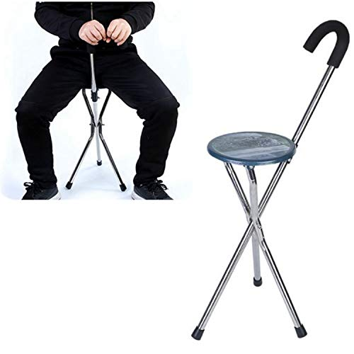 Maple_Leaf Folding Lightweight Adjustable Height Cane Seat Portable Walking Chair Stainless Steel Elderly Three-Legged Cane Stool with Seat Disability Medical Aid Folding Seat Cane