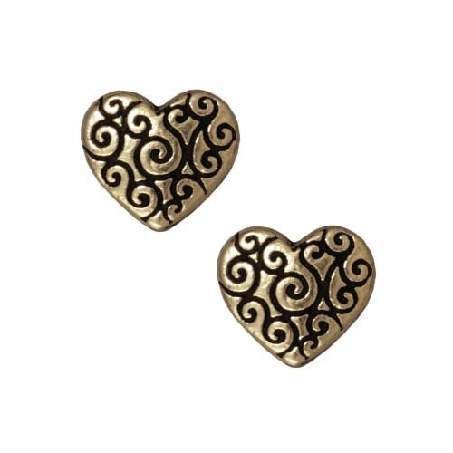 TierraCast Brass Oxide Finish Lead-Free Pewter Scroll Puff Heart Beads 10mm (2)