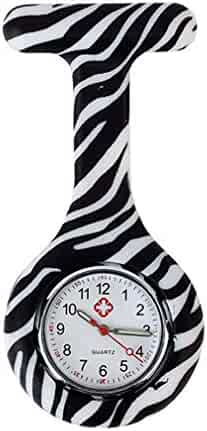 NEW Zebra Silicone Quartz Movement Nurse Brooch Fob Tunic Pocket Watch
