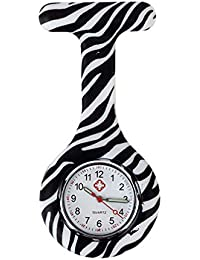 New Zebra Silicone Quartz Movement Nurse Brooch Fob Tunic Pocket Watch