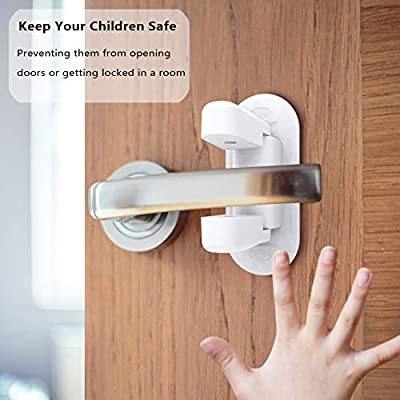 Door Lever Lock - BAFULAN Child Safety Proof Doors & Handles with 3M Adhensive, Baby Safety Doorknob Locks for Kids, No Tools Key or Drilling Needed