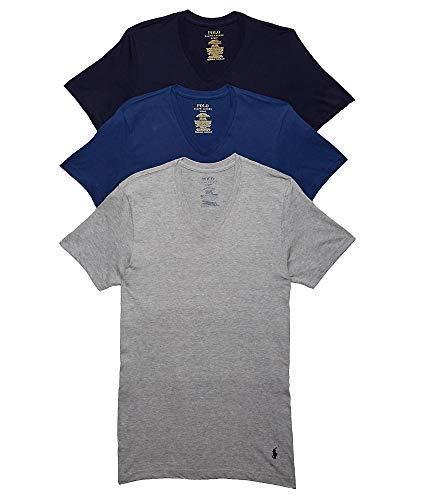 Polo Ralph Lauren Men's Classic Fit w/Wicking 3-Pack V-Necks Andover Heather/Bali Blue/Cruise Navy Medium