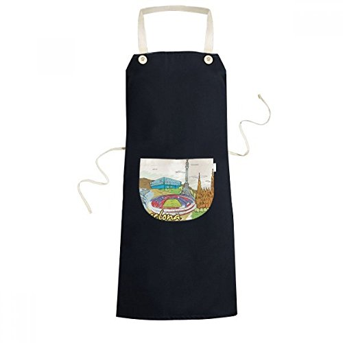 cold master DIY lab Spain Barcelona Monument A Colon Sagrada Familia Watercolor Cooking Kitchen Black Bib Aprons With Pocket for Women Men Chef Gifts by cold master DIY lab