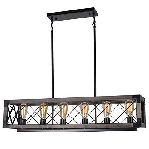 (Beuhouz Long Wood Chandelier Light for Kitchen Island, Metal Farmhouse Dining Room Lighting Rectangle Chandelier Billiard Light 6 Lights Edison E26 8001A)