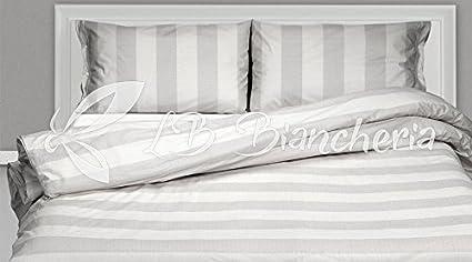 5bceda90ca R.P. Parure Copripiumino Sacco Righe Grigio - Prezioso Cotone Made in Italy  Trama fitta - 2 piazze. Letto Matrimoniale Misura Maxi 250X220+Patella: ...