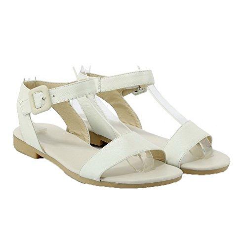 AalarDom Mujer Puntera Abierta Mini Tacón Pu Sólido Sandalias de vestir Beige