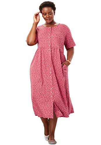 Front Empire Dress (Only Necessities Women's Plus Size Button Front Empire Waist Dress)