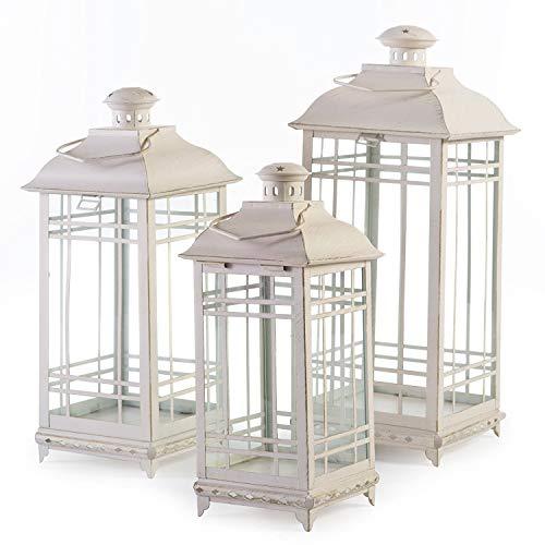 Set of 3 Off-White Almond Multi-Sized Mission-Style Pillar Candle Lanterns