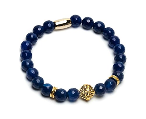 ZENGER 18kt Gold Plated Lion Head Beaded Bracelet (Blue Facet (Blue Lion Head)