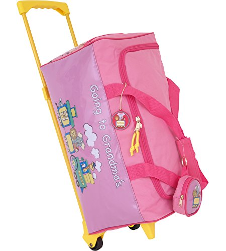 Going To Grandmas Suitcase - Kids Wheeled Duffle Bag-Going To Grandma's-Pink (Pink) (17