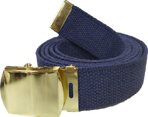 100% Cotton Military 54'' Web Belt (Navy Blue Belt w/Gold Buckle)