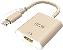 Type C to HDMI, ICZI 4K USB C to HDMI (Thunderbolt 3 to HDMI) Adapter for Huawei Mate 10, MacBook Chromebook Pixel, Dell XPS 13/15 and More - Grey