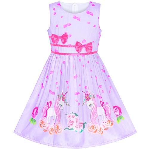 Girls Dress Purple Unicorn Flower Summer Sundress Size 9-10]()