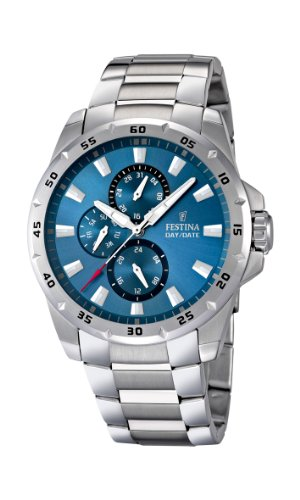 Festina Men's Quartz Watch with Blue Dial Analogue Display and Silver Stainless Steel Bracelet F16662/2