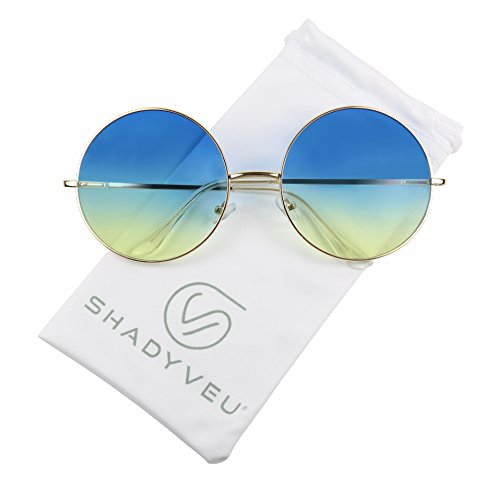ShadyVEU - X Large Oversize Round Oceanic Two Tone Color Tint Vintage Groovy Sunglasses (Gold Frame, Blue & Yellow)