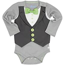 RuggedButts Infant/Toddler Boys LS Tuxedo One-Piece Body Suit
