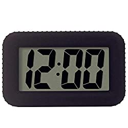 Digital Alarm Clock Table Electronic Clock with Rubber Case Display Time/Alarm, Snooze/Backlight, Adjustable Light Dimmer Battery Bedside Desk/Shelf Clock for Kids/Teens/Home/Office/Travel, Black