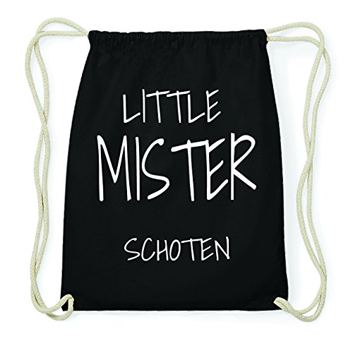 JOllify SCHOTEN Hipster Turnbeutel Tasche Rucksack aus Baumwolle - Farbe: schwarz Design: Little Mister tRVyldal