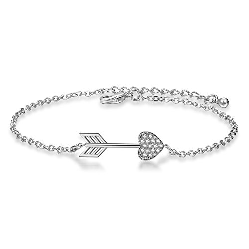 - ATDMEI Cupid's Arrow Bracelet Sterling Silver Plated for Women Girls Zircon Jewelry Gifts