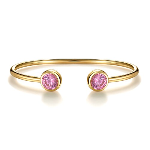 - October Created Pink Tourmaline Crystal Birthstone Cuff Bracelet Bangle Gold Plated Bangle Bar Birth Month Charm Valentine's Day Gifts Birthday Gifts Anniversary Gifts for Girlfriend Wife Women