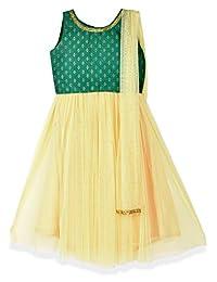 K&U Girls' Green and Yellow Dupion Net Sleeveless Lehenga Choli