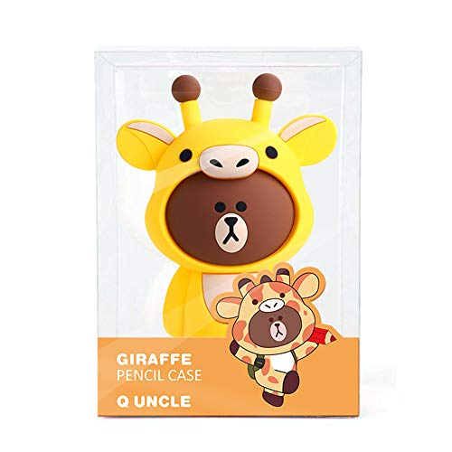 Children's Cartoon Animal Soft Silicone Pencil Case Cosmetic Makeup Storage Bag Stationery Gift (Yellow)]()