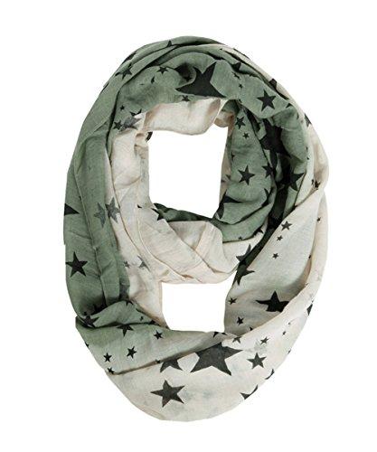 (Lucky Leaf Lightweight Silky Cozy Fashion Gauze Loop Infinity Scarf for Women (Star))