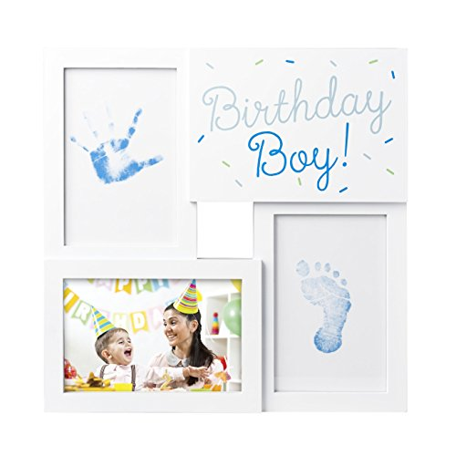 Pictures Birthday Cards - Tiny Ideas My First Birthday Print Collage Photo Frame with Included Ink Pad and Imprint Cards, Blue
