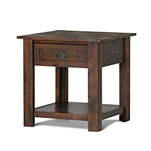 Simpli Home Monroe End Table, Distressed Charcoal Brown