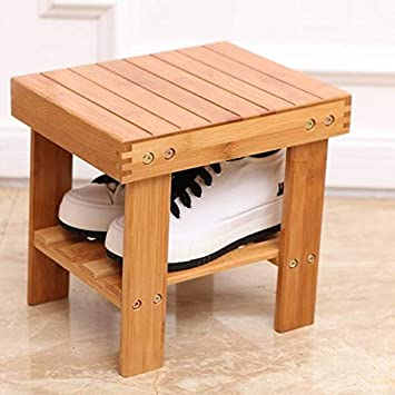 Super Ssline Bamboo Small Step Stool With Storage Shelf 10 Height Portable Mini Stool Non Slip Bath Shower Chair Bench For Kids Household Garden Outdoor Theyellowbook Wood Chair Design Ideas Theyellowbookinfo