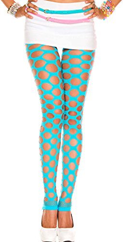 ToBeInStyle Women's Fishnet Slashed Leggings W/Footless Design (Turquoise) -