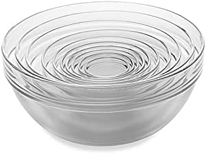 Skemix 10 Piece Tempered Glass Nesting Mixing And Prep Bowl Set Comes In Microwave And Dishwasher Safe Kitchen Dining Amazon Com