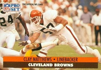 Clay Matthews Football Card (Cleveland Browns) 1991 Pro Set #122