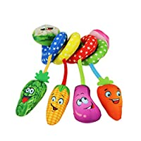 Baby Crib Hanging Cute Toy Fruit Pattern Baby Pram Spiral Rattles Toys Hanging Toy with Rattle 1PC